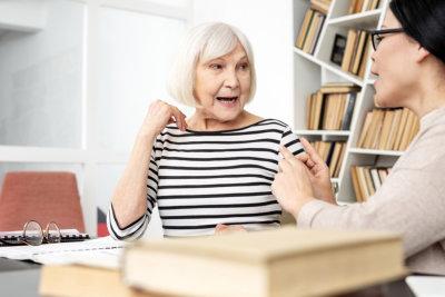 senior woman having a speech therapy